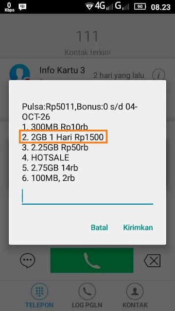 Cara Hack Kartu Tri Untuk Aktifasi Paket Internet MURAH 1500 Dapat 2GB - make hape android