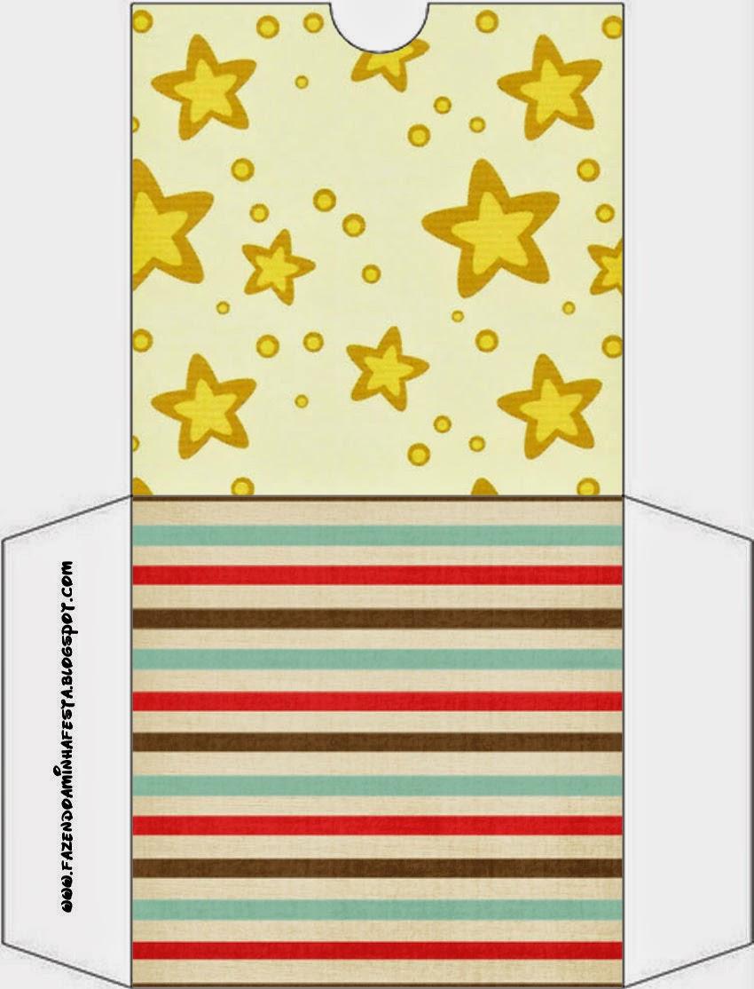 Funda CD´s para Imprimir Gratis de Estrellas Doradas y Rayas de Colores.