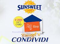 Logo Sunsweet Ones: ''Raccogli e condividi'' e vinci gratis 1 Gift Card Etsy da 200€ e kit attrezzi da giardino