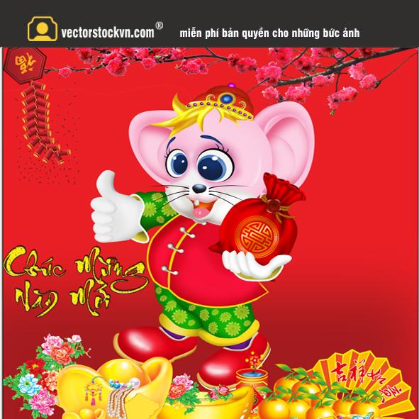 Vector con chuột vàng in lịch tết 2020