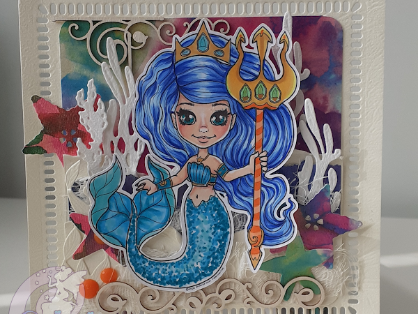 "My first mermaid card with ""The little mermaid queen"""