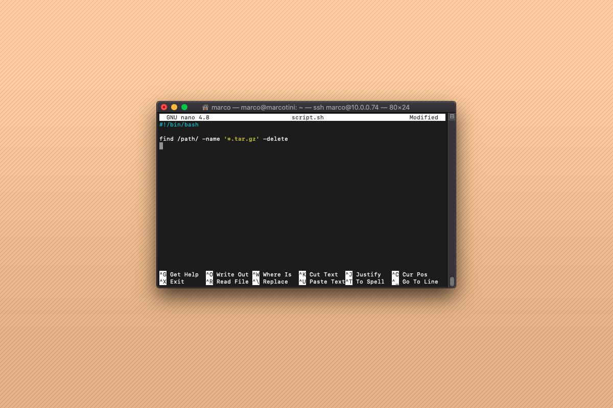 Come cancellare tutti i file con estensione con uno script Bash