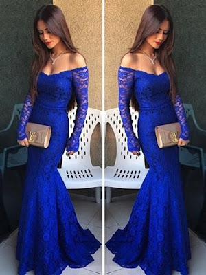 Royal Blue Lace Long Sleeve Hot Trumpet/Mermaid Off-the-shoulder Prom Dress