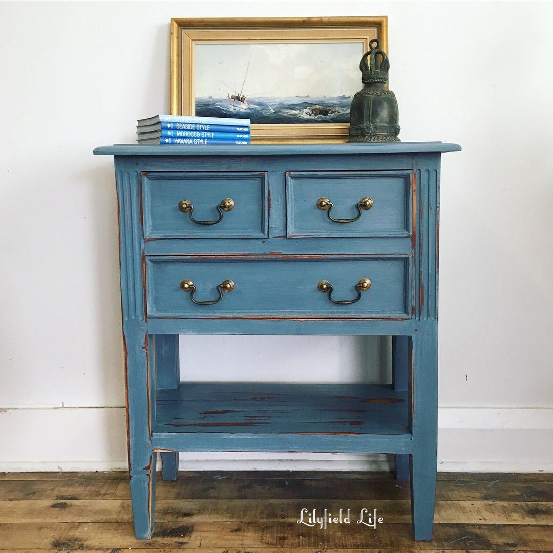lilyfield life stunning french enamel blue hall table