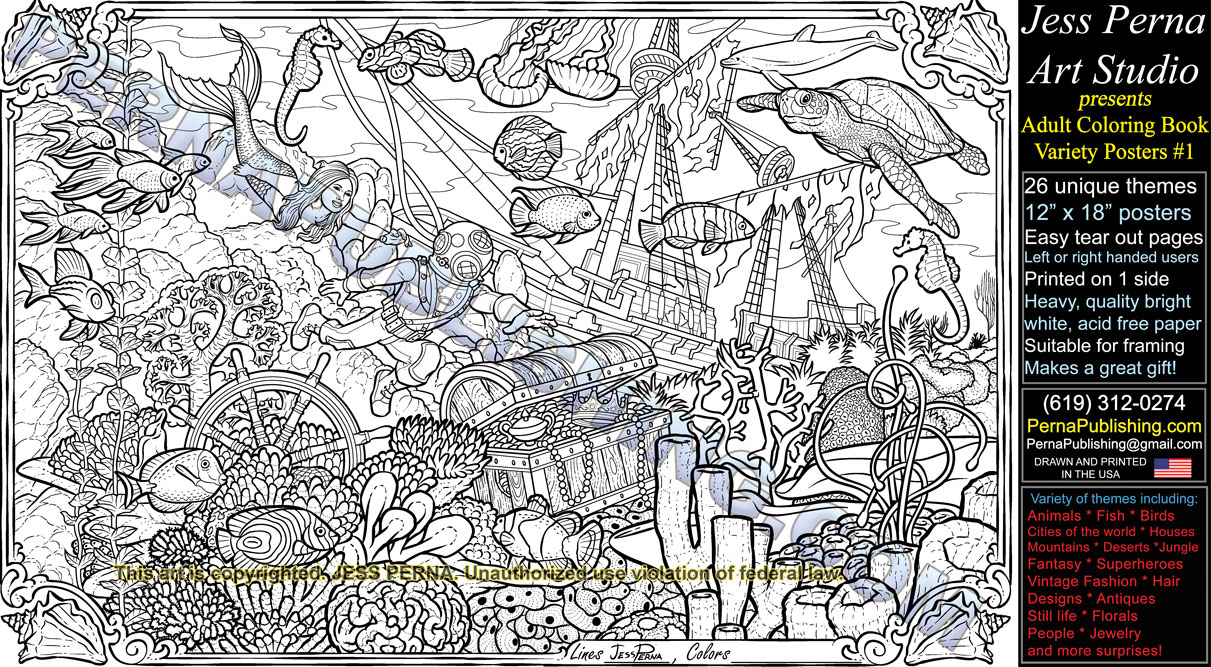 The coloring book poster - Coral Reef Mermaid Adult Coloring Book Poster