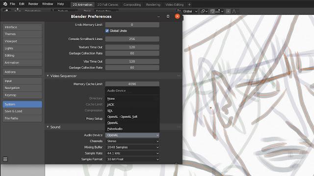 screenshot of settings menu in blender software