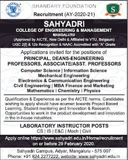 Sahyadri College of Engineering and Management Assistant Professor jobs 2020