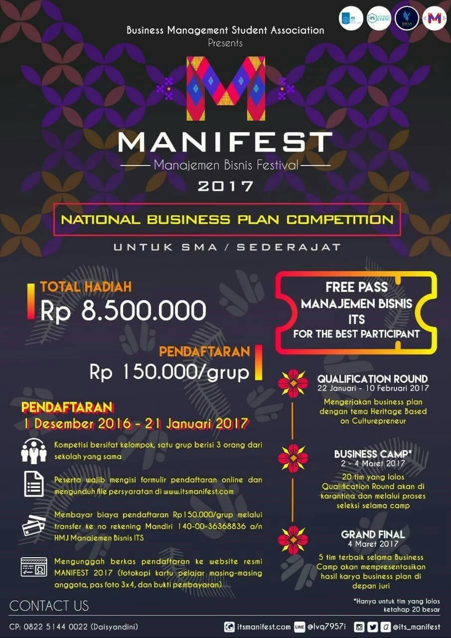 Lomba Business Plan Manifest 2017 Info Lomba 2021 Terbaru