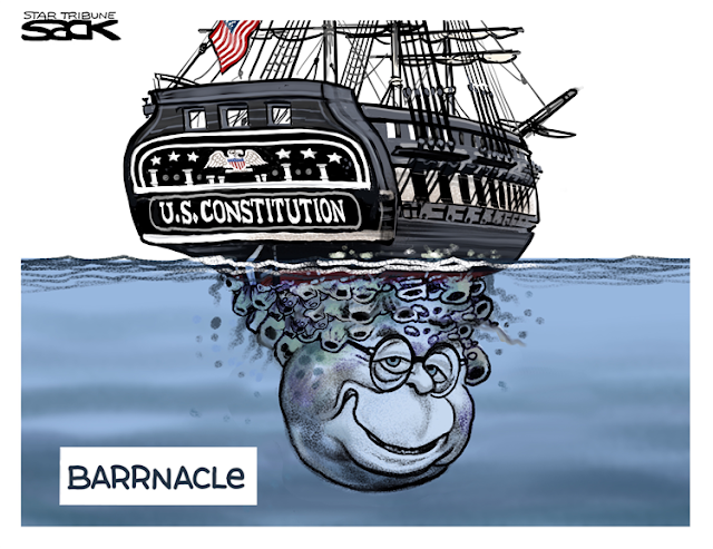 Title:  Barrnacle.  Image:  Old Ironsides (the U. S. Constitution at sea.  Beneath it, a giant growth in the image of Attorney-General Barr's head.