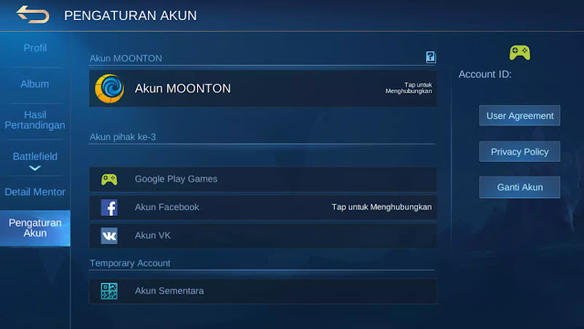 mengaitkan akun Mobile Legends ke fb