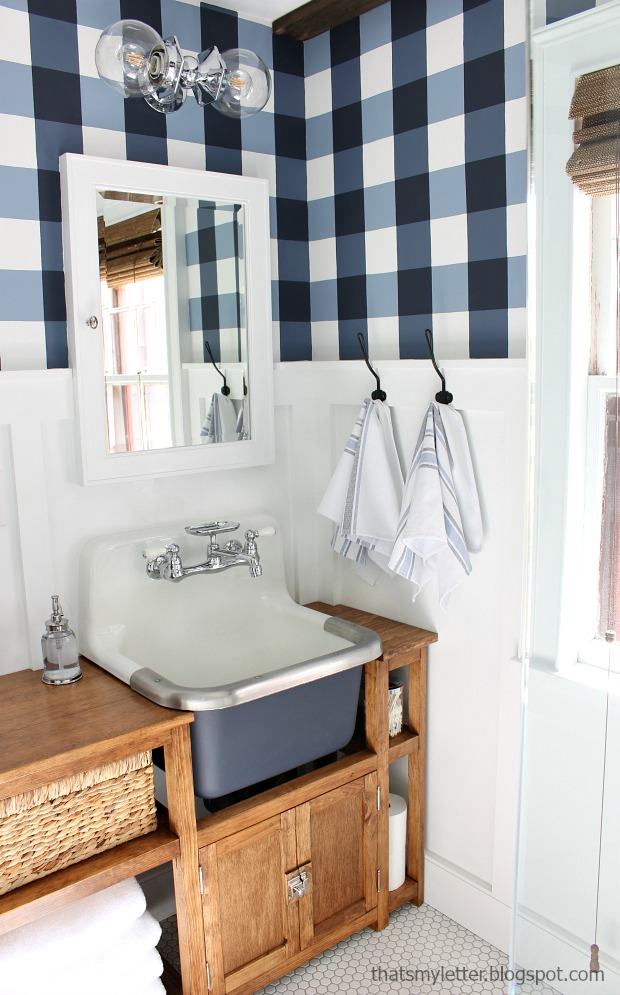 master bathroom with gingham painted walls