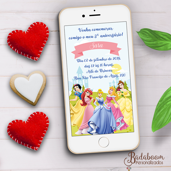 Princesas, convite, digital, arte digital, convite digital, arte personalizada, convite whatsapp, festa infantil