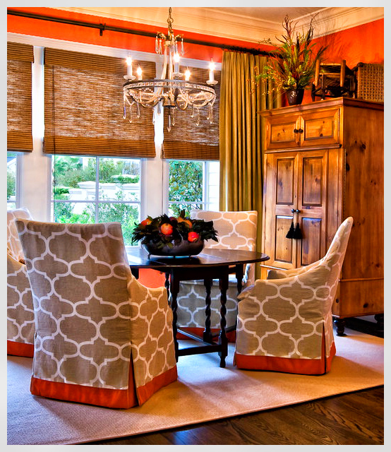 Dining room window treatments use combination of fabric to coordinate with buffalo check