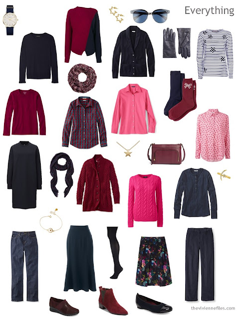 a 16-piece 4 by 4 wardrobe for cool weather, in navy, burgundy and shades of pink
