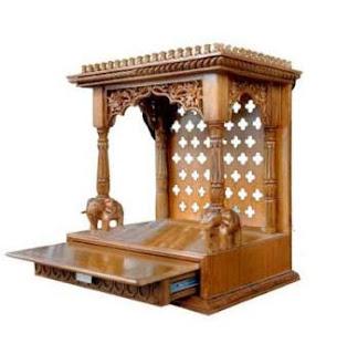 Star Design Brown Teak Wood Temple