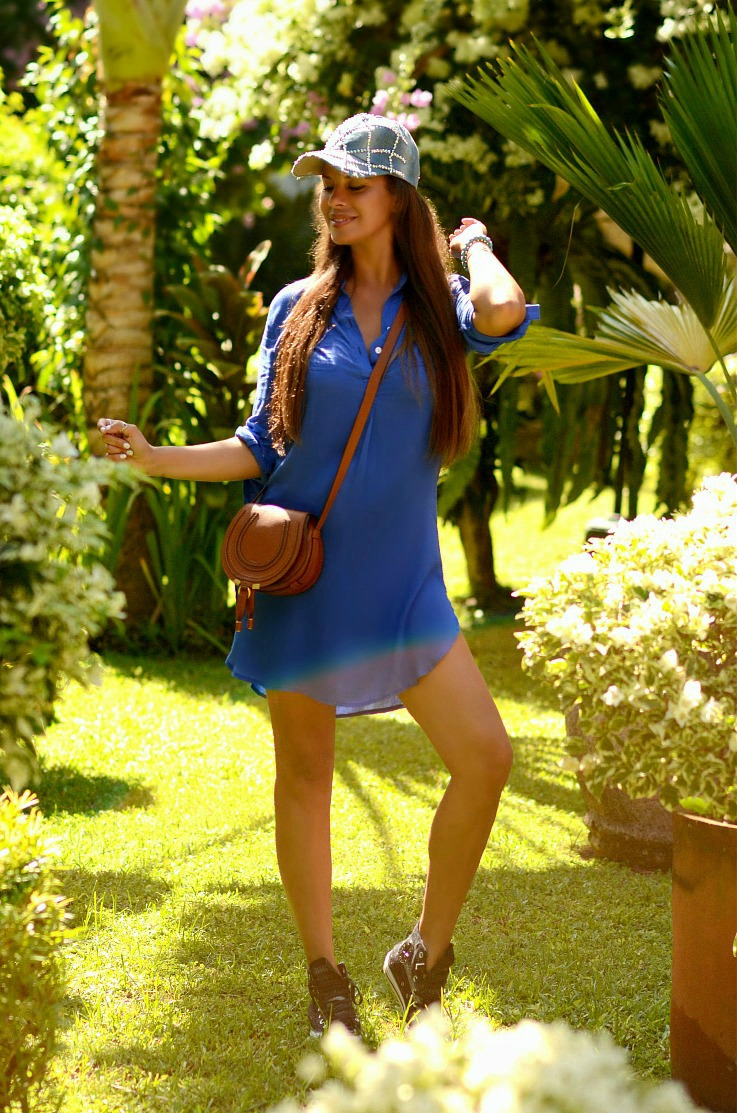 Shirt Dress, Black and white Converse all stars, Chloé mini marcie bag, studded denim cap, Tamara Chloé, TC Style Clues, Bali, Respati hotel, Sanur, Indonesia