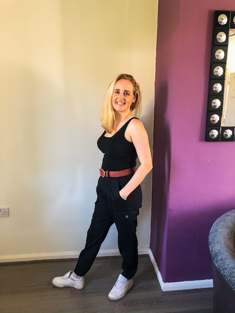 New wardrobe additions from Femme Luxe - slim fit cargo trousers with vest and trainers