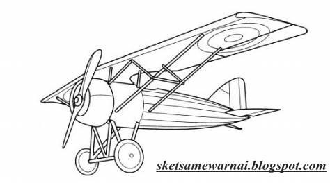 Sketsa Mewarnai Gambar  Pesawat  Terbang Sketsa Mewarnai