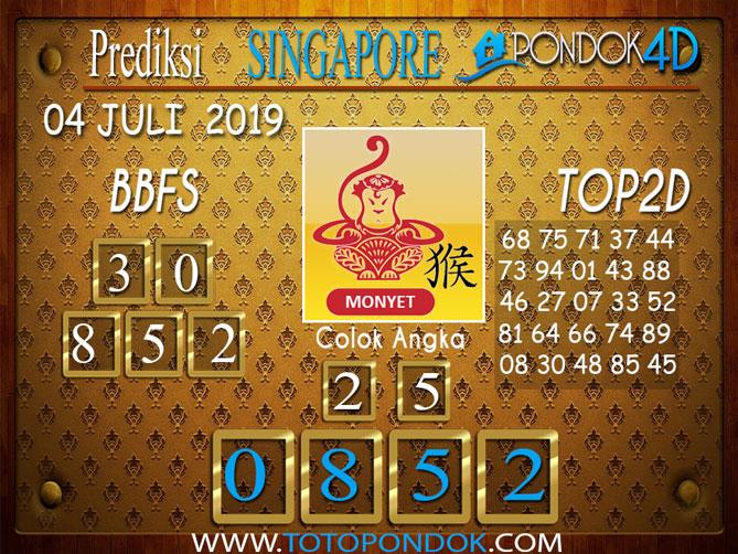Prediksi Togel SINGAPORE PONDOK4D 04 JULI  2019