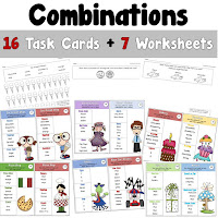 Combinations Task Cards and Worksheets
