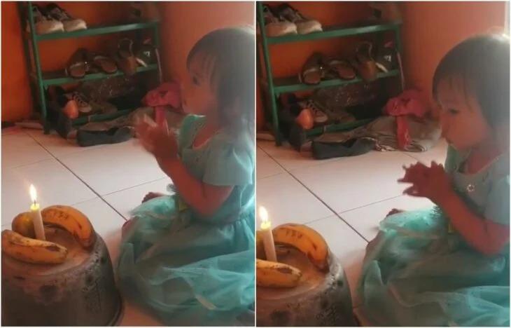 Papás simulan pastel de cumpleaños con plátanos para su hija