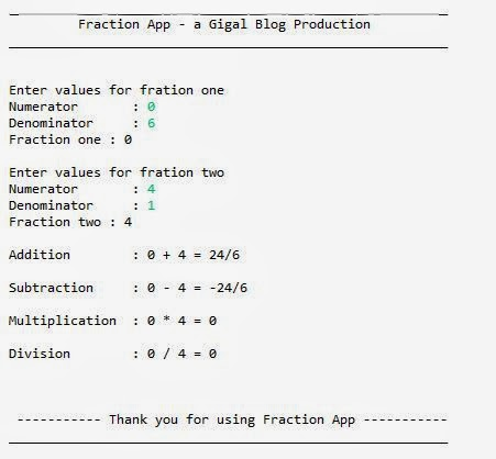 Gigal: Java Fraction Calculator Example
