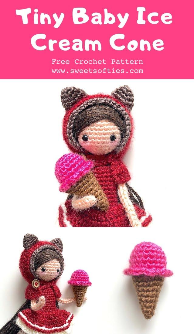 Free Crochet Ice Cream Cone pattern via the blog Norma Lynn.July ... | 1100x639