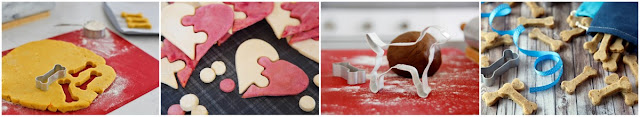 A collage of DIY dog treat decorating ideas for roll-and-cut shaped homemade treats