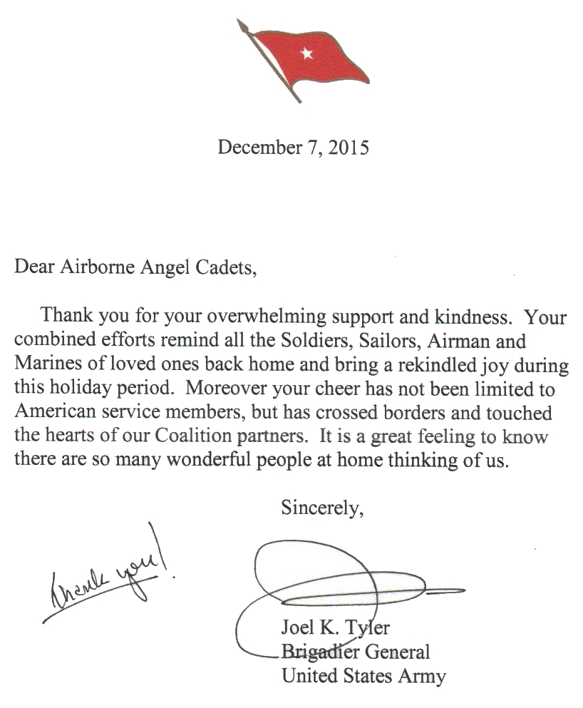 Care packages for soldiers thank you letter from a brigadier thank you letter from the mideast expocarfo Images