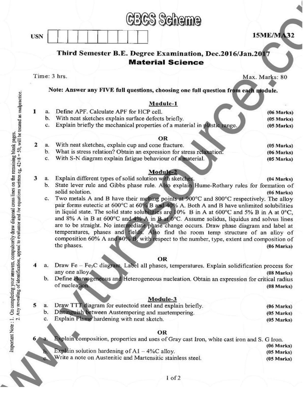VTU BE 3rd Semester Mechanical Question Paper : Material Science
