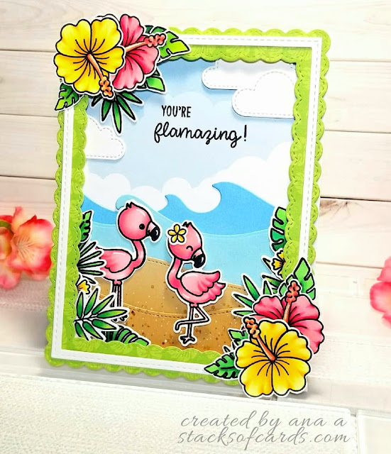 Sunny Studio Stamps: Fabulous Flamingos Customer Card by Ana A