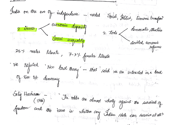 Post Independence History Handwritten Notes for UPSC CSE by Anudeep Shetty (AIR 1)