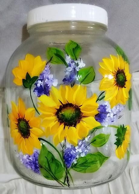 girassóis pintados em vidro