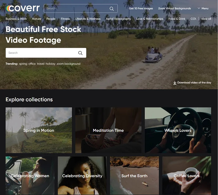 Coverr has a great collection of beautiful free stock videos