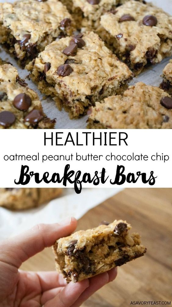 HEALTHIER OATMEAL PEANUT BUTTER CHOCOLATE CHIP BREAKFAST BARS #healthier #oatmeal #peanut #butter #chocolate #chip #breakfast #breakfastideas #bars #healthysnack #healthysnackideas #healthyrecipes #healthyfood