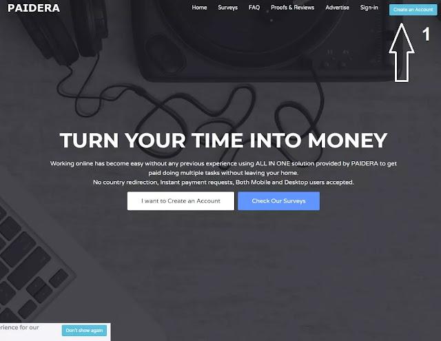 صفحة موقع بايديرا paidera الرئيسية - الخطوة الأولى للتسجيل