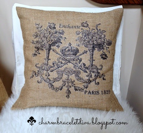 French stenciled burlap pillow