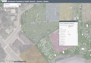 Screenshot from the Evergreen Cemetery online map
