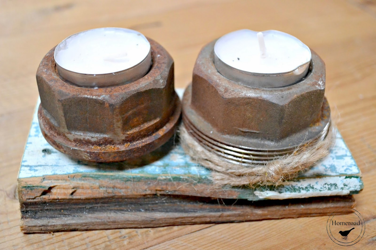 Rusty Bolt Tea Light Candles www.homeroad.net