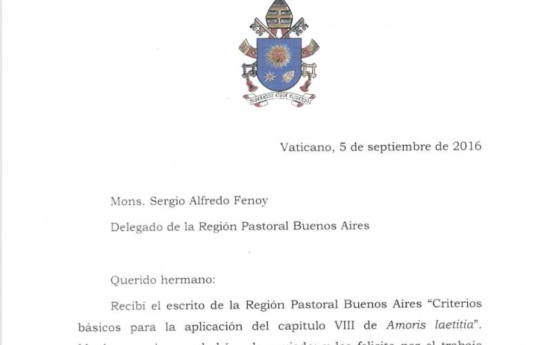 september 9 2016 lifesitenews in a letter reportedly leaked by a priest in argentina pope francis writes that there is no other interpretation of