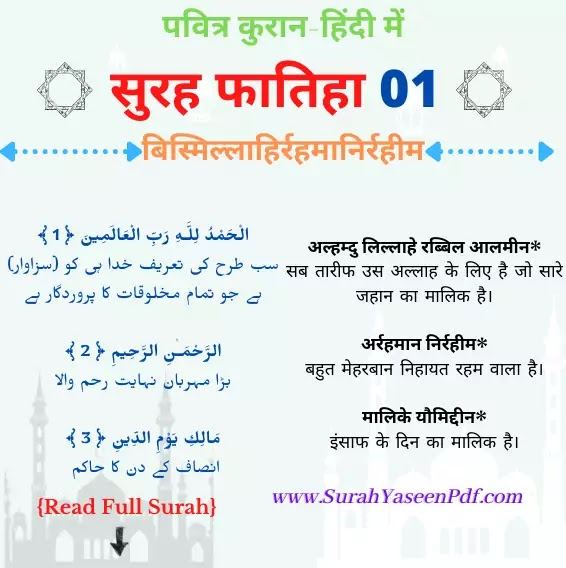 Surah Fatiha in Hindi Image