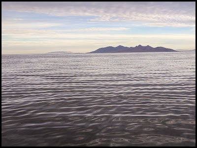 Looking out to Antelope Island at Sunrise from the Great Salt Lake