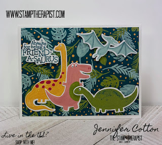 This adorable dinosaur card uses Stampin' Up!'s Dino Days Bundle!  The bundle pricing retires June 2!  The Dinoroar Designer Paper is while supplies last and is only $6.90!  Video on the blog!  #StampTherapist #Stampinup