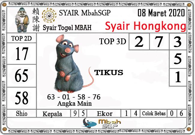 Prediksi Togel HK Minggu 08 Maret 2020 - Syair Mbah HK