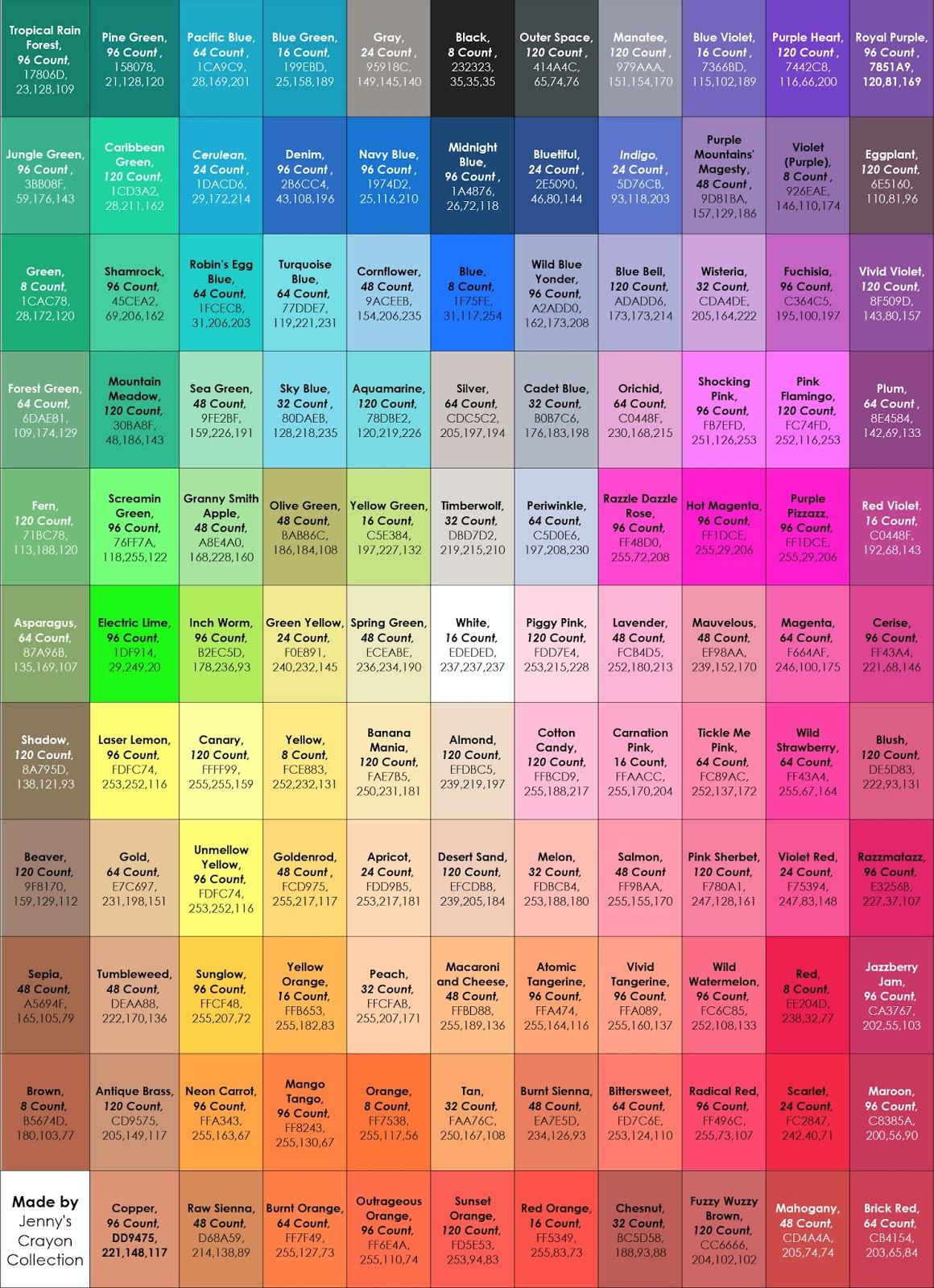 Funny Crayon Names : funny, crayon, names, Complete, Current, Crayola, Crayon, Colors, Jenny's, Collection
