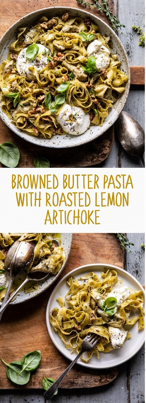 Browned Butter Pasta With Roasted Lemon Artichoke