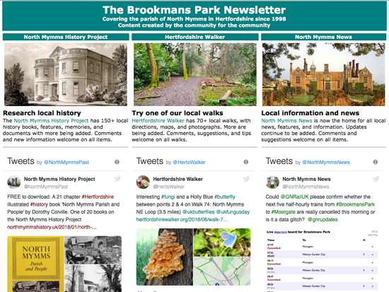 Screen grab of the front page of the Brookmans Park Newsletter June 2018