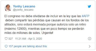 Lescano en Twitter sobre AFP