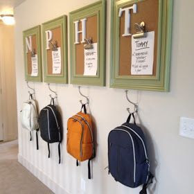 organize back packs for busy mornings