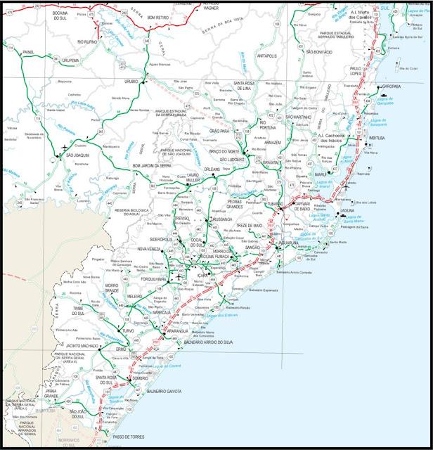 Mapa rodoviário do litoral sul de Santa Catarina